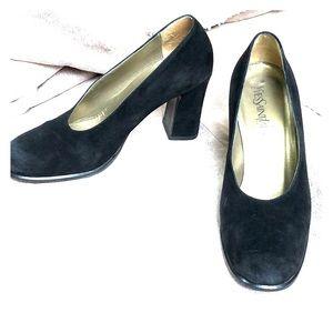 Yves Saint Laurent classic black suede shoes